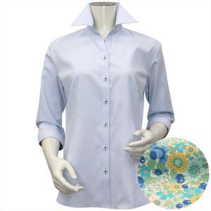 レディース ウィメンズシャツ 七分袖 形態安定 スキッパー衿 サックス×幾何学模様織柄 (透け防止)|shirt