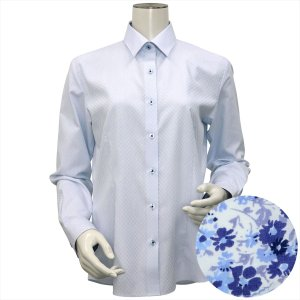 レディース ウィメンズシャツ 長袖 形態安定 レギュラー衿 サックス×市松格子織柄(透け防止)|shirt