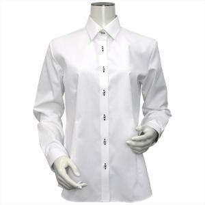レディース ウィメンズシャツ 長袖 形態安定 レギュラー衿 白×斜めストライプ織柄(透け防止) shirt