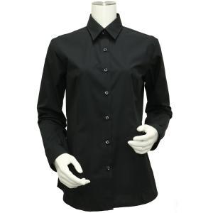 長袖 形態安定 レディース ウィメンズシャツ レギュラー衿 黒無地調|shirt