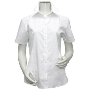 レディース ウィメンズシャツ 半袖 形態安定 スキッパー衿 白無地・ブロード(透け防止)|shirt
