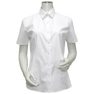 レディース ウィメンズシャツ 半袖 形態安定 レギュラー衿 白無地・ブロード(透け防止)|shirt