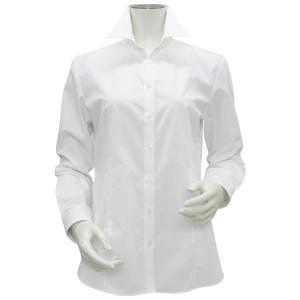 新体型 長袖 形態安定 レディースシャツ スキッパー衿 白無地・ブロード|shirt