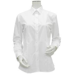 新体型 長袖 形態安定 レディースシャツ レギュラー衿 白無地・ブロード|shirt