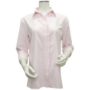 七分袖 形態安定 レディースフリルシャツ スキッパー衿 ピンク×織柄|shirt