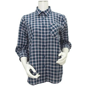 七分袖 形態安定 レディース Wガーゼシャツ ワイド衿 グリーン×白、ネイビー、エンジチェック|shirt