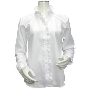 長袖 形態安定 レディース ウィメンズ デザイン フリルシャツ スタンド衿 白×チェック織柄|shirt