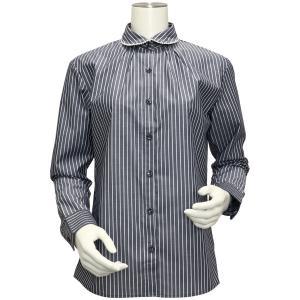 長袖 形態安定 レディース ウィメンズ デザインシャツ パール付き ラウンド衿 グレー×白ストライプ|shirt