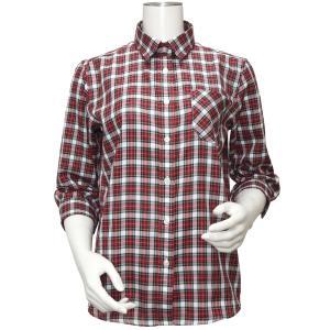 七分袖 形態安定 レディース Wガーゼシャツ ワイド衿 綿100% レッド系チェック|shirt