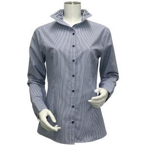 レディース ウィメンズ 長袖 形態安定 フリル デザインシャツ スタンド衿 白×ネイビーストライプ|shirt