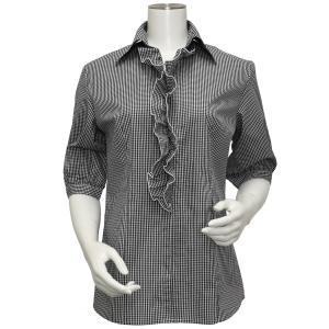 レディース ウィメンズ 五分袖 形態安定 フリル付 デザインシャツ スキッパー衿 白×黒チェック|shirt