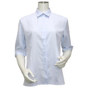 五分袖 形態安定 レディース ウィメンズ デザインシャツ レギュラー衿 サックス×ダイヤチェック織柄|shirt