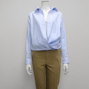 長袖 形態安定 レディース ウィメンズ カシュクール Wガーゼシャツ スキッパー衿 綿100% サックス×白ストライプ|shirt