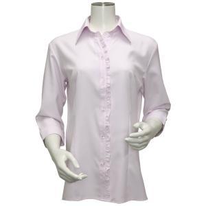 レディース ウィメンズ 七分袖 形態安定 フリル付 デザインシャツ スキッパー衿 ピンク×斜めストライプ織柄|shirt