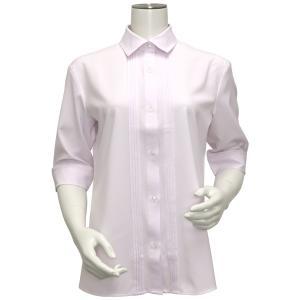 五分袖 形態安定 レディース ウィメンズ デザインシャツ レギュラー衿 ピンク×小紋織柄|shirt