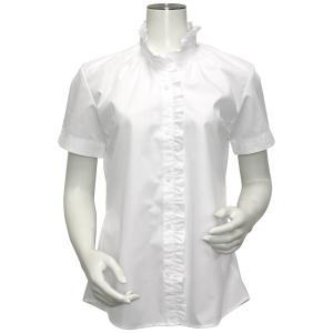 半袖 形態安定 レディース ウィメンズ フリル付 デザインシャツ スタンド衿 白×ストライプ織柄|shirt