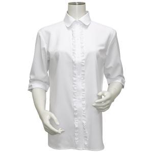 五分袖 形態安定 レディース ウィメンズ フリル付 デザインシャツ ラウンド衿 白×小紋織柄|shirt