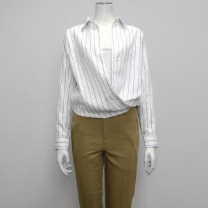 長袖 形態安定 レディース ウィメンズ カシュクール Wガーゼシャツ スキッパー衿 綿100% 白×グレーストライプ|shirt
