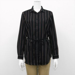 レディース ウィメンズ 長袖 チュニック Wガーゼシャツ スキッパー衿 綿100% ブラック×ブラウン、白ストライプ(ウエスト紐付)|shirt
