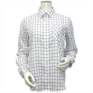 レディース ウィメンズシャツ 長袖 Wガーゼシャツ レギュラー衿 綿100% 白×ネイビーチェック|shirt