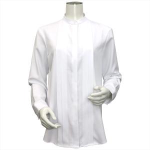 レディース ウィメンズ 長袖 形態安定 デザインシャツ スタンド衿 白×ダイヤチェック織柄|shirt