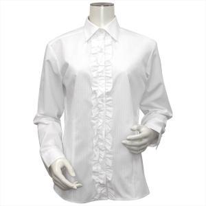 レディース ウィメンズ 長袖 形態安定 フリル付 デザインシャツ レギュラー衿 白×ラメストライプ|shirt