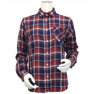 レディース ウィメンズシャツ 長袖 Wガーゼシャツ レギュラー衿 綿100% エンジ×ネイビー、白チェック|shirt