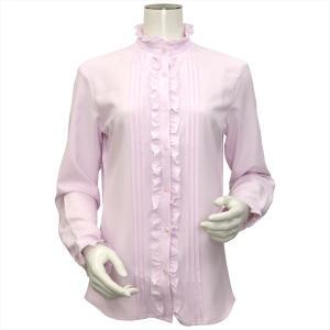 レディース ウィメンズ 長袖 形態安定 フリル付 デザインシャツ スタンド衿 ピンク×小紋織柄|shirt