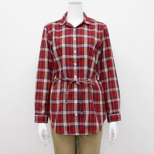 レディース ウィメンズ 長袖 チュニック Wガーゼシャツ スキッパー衿 綿100% レッド×白、イエロー、ネイビーチェック(ウエスト紐付)|shirt