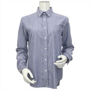 レディース ウィメンズシャツ 長袖 Wガーゼシャツ レギュラー衿 綿100% ブルー×白ストライプ|shirt