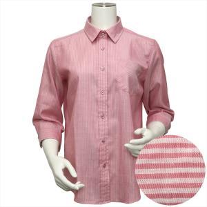 【500円OFF対象外】レディース ウィメンズシャツ 七分袖 形態安定 Wガーゼシャツ レギュラー衿 綿100% ピンク×無地調(裏側ストライプ)|shirt