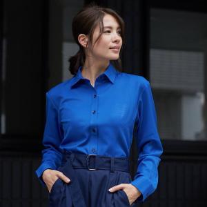 レディース ウィメンズシャツ 長袖 形態安定 レギュラー衿 ブルー×ダイヤチェック織柄|shirt