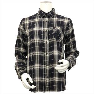 レディース ウィメンズシャツ 長袖 Wガーゼシャツ レギュラー衿 綿100% ブラック×白、ブラウンチェック|shirt