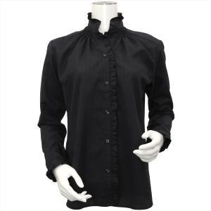 レディース ウィメンズ 長袖 形態安定 フリル デザインシャツ スタンド衿 黒×グレーチェック|shirt