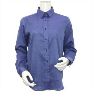 レディース ウィメンズシャツ 長袖 Wガーゼシャツ レギュラー衿 綿100% ブルー×無地調|shirt