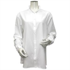 レディース ウィメンズ 長袖 形態安定 フリル付 デザインシャツ スキッパー衿 白×小紋織柄|shirt