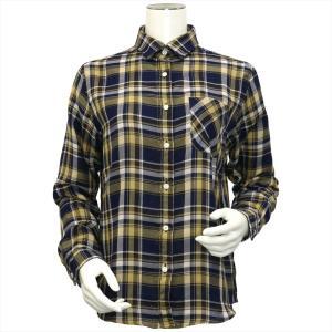レディース ウィメンズシャツ 長袖 Wガーゼシャツ レギュラー衿 綿100% ネイビー×ベージュ、ブラウン、白チェック|shirt