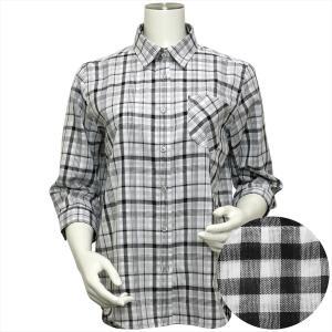 レディース ウィメンズシャツ 七分袖 形態安定 Wガーゼシャツ レギュラー衿 綿100% 白×グレーチェック(裏側ギンガム)|shirt