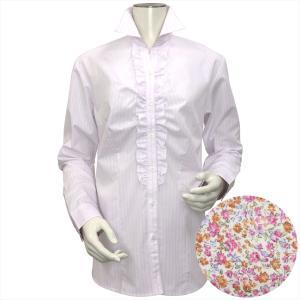 レディース ウィメンズ 長袖 形態安定 フリル付 デザインシャツ スキッパー衿 白×ピンク、ラメストライプ|shirt