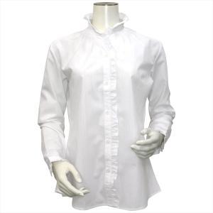 レディース ウィメンズ 長袖 形態安定 フリル付 デザインシャツ スタンド衿 白×ストライプ織柄(ラメ入り)|shirt