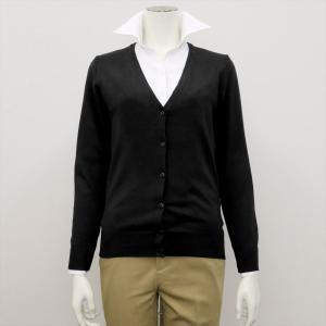 レディース ウィメンズニット Vネック カーディガン ブラック系|shirt