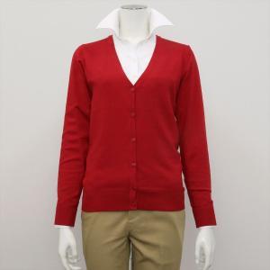 レディース ウィメンズニット Vネック カーディガン レッド系|shirt