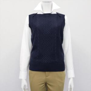 レディース ウィメンズニット ボートネック ベスト ネイビー系|shirt
