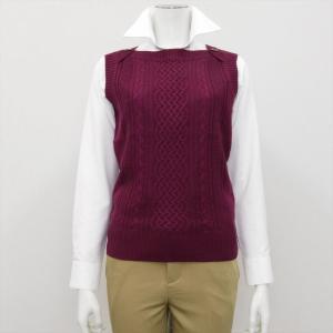 レディース ウィメンズニット ボートネック ベスト チェリー系|shirt