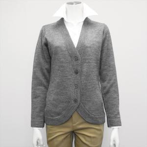 レディース ウィメンズニット 裾ラウンド Vネック カーディガン グレー系|shirt