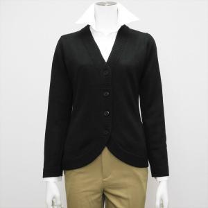 レディース ウィメンズニット 裾ラウンド Vネック カーディガン ブラック系|shirt