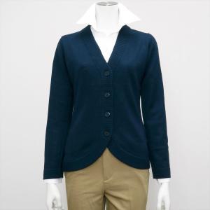 レディース ウィメンズニット 裾ラウンド Vネック カーディガン ターコイズ系|shirt