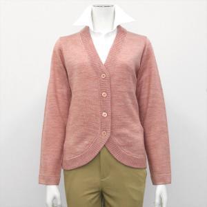 レディース ウィメンズニット 裾ラウンド Vネック カーディガン ピンク系|shirt