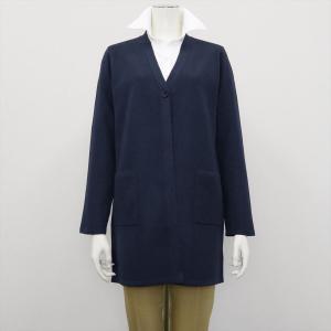 レディース ウィメンズニット Vネック ロング カーディガン ネイビー系|shirt