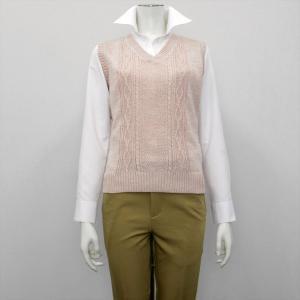 レディース ウィメンズニット 麻混 Vネック ベスト ピンク系|shirt